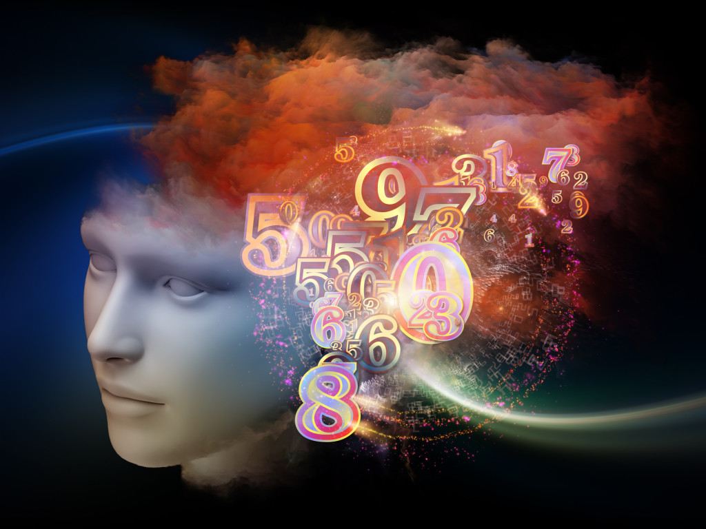 Colorful Mind series. Visually pleasing composition of human head, numbers and fractal colors to serve as background in works on mind, dreams, thinking, consciousness and imagination