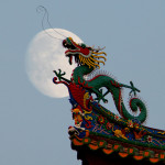 Traditional chinese dragon on a background of  the full moon
