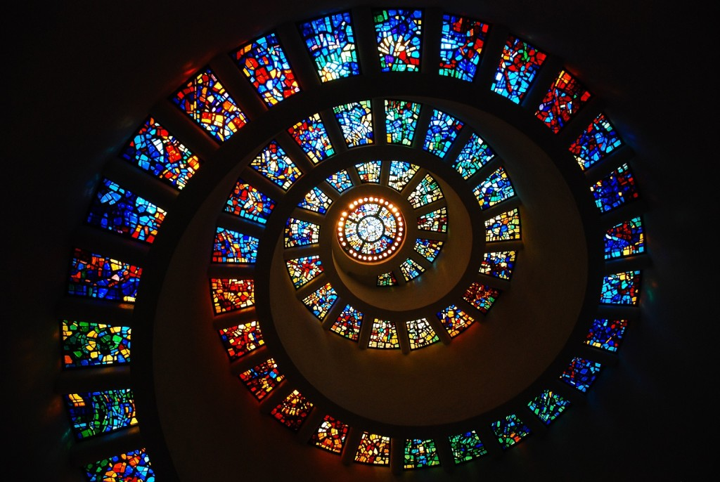 Dallas TX, USA May 19, 2008 The Spiral Stained Glass of the Thanks Giving Chapel, Dallas Texas represents the Fibonacci sequence